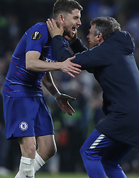 BRITAIN-LONDON-FOOTBALL-UEFA EUROPA LEAGUE-CHELSEA VS FRANKFURT.(190510) -- LONDON, May 10, 2019  Chelsea's Jorginho (L) celebrates after winning the penalty shoot of the UEFA Europa League semi-final second leg match between Chelsea and Frankfurt in London, Britain on May 9, 2019.  FOR EDITORIAL USE ONLY. NOT FOR SALE FOR MARKETING OR ADVERTISING CAMPAIGNS. NO USE WITH UNAUTHORIZED AUDIO, VIDEO, DATA, FIXTURE LISTS, CLUBLEAGUE LOGOS OR ''LIVE'' SERVICES. ONLINE IN-MATCH USE LIMITED TO 45 IMAGES, NO VIDEO EMULATION. NO USE IN BETTING, GAMES OR SINGLE CLUBLEAGUEPLAYER PUBLICATIONS. (Credit Image: © Xinhua via ZUMA Wire)