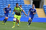 Yann Kermorgant of Reading makes a break. EFL Skybet championship match, Cardiff city v Reading at the Cardiff city stadium in Cardiff, South Wales on Saturday 27th August 2016.<br /> pic by Andrew Orchard, Andrew Orchard sports photography.