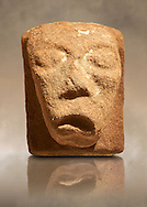 Anglo Saxon Medieval stone gargoyle from Lindisfarne Abbey, Holy Island, England .<br /> <br /> Visit our MEDIEVAL ART PHOTO COLLECTIONS for more   photos  to download or buy as prints https://funkystock.photoshelter.com/gallery-collection/Medieval-Middle-Ages-Art-Artefacts-Antiquities-Pictures-Images-of/C0000YpKXiAHnG2k