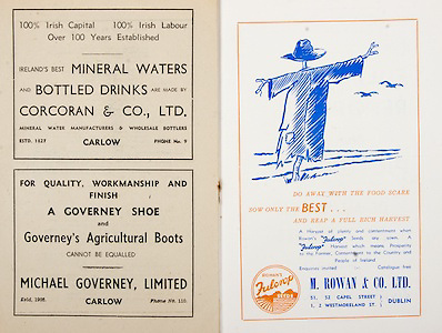 All Ireland Senior Hurling Championship Final,.Programme,.07.09.1952, 09.07.1952, 7th September 1952, .Cork 2-14, Dublin 0-7,.Minor Dublin v Tipperary,.Senior Cork v Dublin, .Croke Park, ..Advertisements, Mineral Waters and Bottled Drinks Corcoran & Co Ltd, A Governey Shoe and Governey's Agricultural Boots Michael Governey Limited, M Rowan & Co Ltd,
