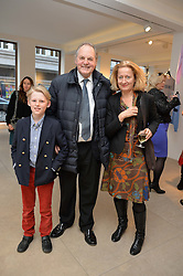 Left to right, GERALD KAVANAGH-LEGGE, his father the EARL OF DARTMOUTH and DIANA di CARCACI at a private view of Bright Young Things held at the David Gill Gallery, 2-4 King Street, London on 19th April 2016.