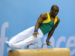 SHENZHEN, Aug. 14, 2011  Ngcongo Lindokuhle of South Africa competes during the men's team final at the 26th Summer Universiade in Shenzhen, a city of south China's Guangdong Province, Aug. 14, 2011. (Xinhua/Lin Yiguang) (Credit Image: © Xinhua via ZUMA Wire)