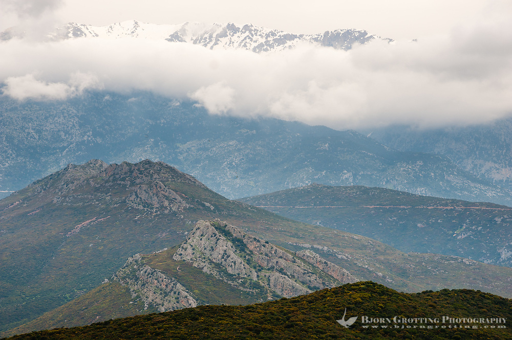 Snow covered mountains close to Arachova, a town in Boeotia, Greece.