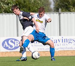 Falkirk's Conor McGrandles and Morton's Archie Campbell.<br /> half time : Falkirk 2 v 0 Morton, Scottish Championship 17/8/2013.<br /> ©Michael Schofield.