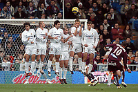 22/12/2004 - La Liga - Real Madrid v Sevilla<br />The Real Madrid wall of (L to R) Raul, David Beckham, Luis Figo, Zinedine Zidane, Guti and Ivan Helguera try to stop the free kick from Sevilla's Julio Baptista<br />Photo: Back Page Images