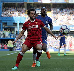 May 6, 2018 - London, Greater London, United Kingdom - Mohamed Salah of Liverpool and Victor Moses of Chelsea compete for the ball during English Premier League match between Chelsea and Liverpool at Stamford Bridge, London, England on 6 May 2018. (Credit Image: © Kieran Galvin/NurPhoto via ZUMA Press)