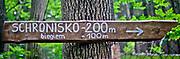 Drogowskaz nieopodal  Biskupiej Kopy – góry o wysokości 890 m n.p.m. w paśmie Gór Opawskich  w Sudetach Wschodnich, leżący na granicy Polski i Czech.
