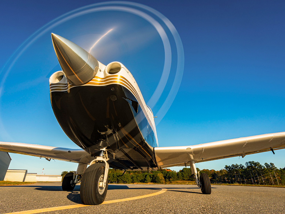 Flight instructor Michelle Curcio, of Horizon Dreams Aviation, taxis her Piper Archer III at Habersham County Airport in Cornelia, Georgia.<br />