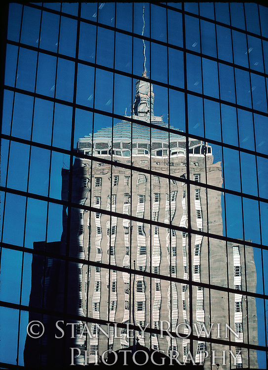 Reflection of old Hancock Building in new one, Achitectural detail, Boston MA, Back Bay Vertical