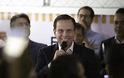 August 8, 2017 - O prefeito João Doria Jr. participa de inauguração do Conjunto de Unidades Habitacionais Jardim Hedite 2, na Zona Sul de São Paulo. Na manhã desta terça-feira (08). Na foto, o prefeito discursa durante o evento. (Credit Image: © Bruno Rocha/Fotoarena via ZUMA Press)