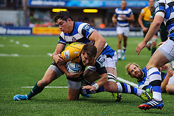 Bath Flanker Francois Louw tackles Northampton Fly-Half Stephen Myler to prevent an otherwise certain try  - mandatory by-line: Rogan Thomson/JMP - Tel: 07966 386802 - 23/05/2014 - SPORT - RUGBY UNION - Cardiff Arms Park, Wales - Bath Rugby v Northampton Saints - Amlin Challenge Cup Final.