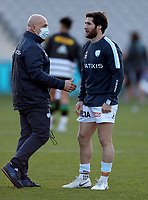 Laurent Travers (left) the Racing 92 coach with Maxime Machenaud before the game