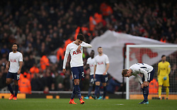 Tottenham Hotspur's Dele Alli looks dejected after they concede their second goal of the game