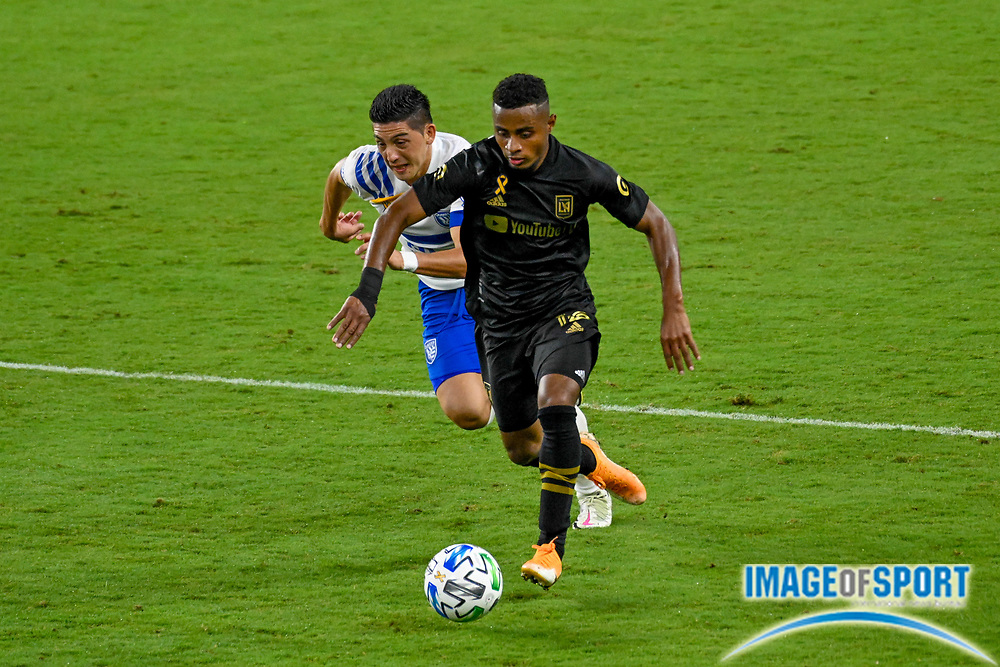 LAFC defender Diego Palacios (12) during a MLS soccer game, Sunday, Sept. 27, 2020, in Los Angeles. The San Jose Earthquakes defeated LAFC 2-1.(Dylan Stewart/Image of Sport)