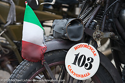 Giuseppe Savorettii's (Italy) riding his 1931 Moto Guzzi during Stage 7 of the Motorcycle Cannonball Cross-Country Endurance Run, which on this day ran from Sedalia, MO to Junction City, KS., USA. Thursday, September 11, 2014.  Photography ©2014 Michael Lichter.