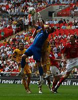 Photo: Steve Bond/Richard Lane Photography. <br />Ebbsfleet United v Torquay United. The FA Carlsberg Trophy Final. 10/05/2008. Keeper Lance Cronin is caught by the elbow of Chris Todd