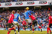 Rangers Pair Connor Goldson & James Tavernier (C) challenge for a ball in the air during the Ladbrokes Scottish Premiership match between Rangers and Kilmarnock at Ibrox, Glasgow, Scotland on 16 March 2019.