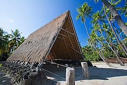 Reconstructed old Hawaiian work shed, called Halau, Pu`uhonua o Honaunau or Place of Refuge National Historical Park, Honaunau, Big Island, Hawaii