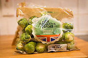 Wrapped pack brussels sprouts Tesco supermarket Redmere farms label, UK