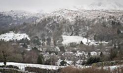 (c) Licenced to London News Pictures 29/01/2015. Cumbria, UK. Snow affects the higher fells in the Lake District. Photo credit : Harry Atkinson/LNP