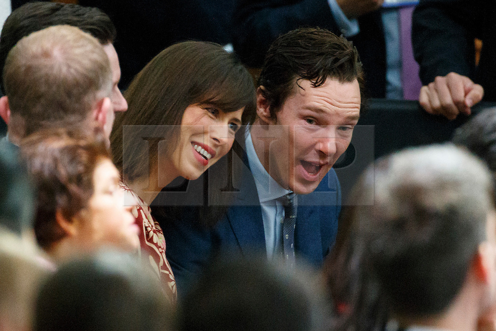 © Licensed to London News Pictures. 23/04/2016. London, UK. Benedict Cumberbatch and wife Sophie Hunter listening President of the United States Barack Obama holding a Q&A session with young people at Lindley Hall, Royal Horticultural Society in central London on Saturday, 23 April 2016. Photo credit: Tolga Akmen/LNP
