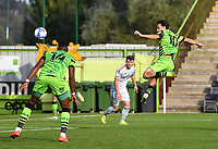 Football - 2020 / 2021 EFL League Two - Forest Green Rovers vs Bradford City<br /> <br /> Forest Green Rovers' Aaron Collins scores his side's second goal in injury time to level the score 2-2, at the New Lawn Stadium<br /> <br /> COLORSPORT/ASHLEY WESTERN