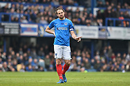 Goal scorer Portsmouth Forward, Brett Pitman (8) during the EFL Sky Bet League 1 match between Portsmouth and Rochdale at Fratton Park, Portsmouth, England on 13 April 2019.