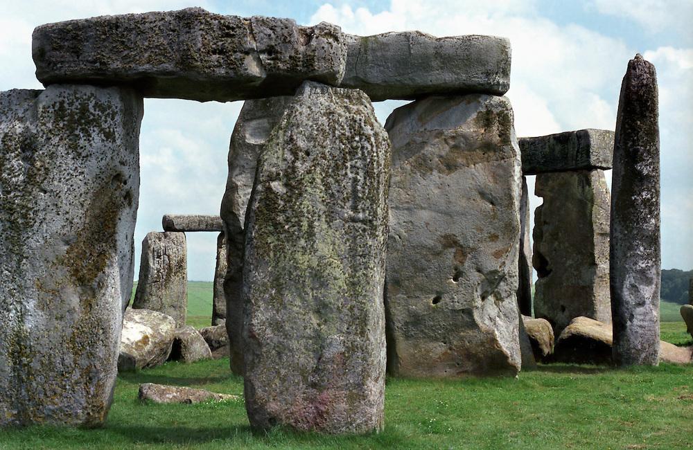 Stonehenge central bluestone sarcens, closeup of several in a group.