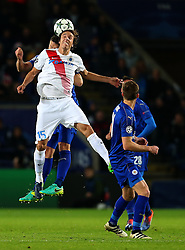 Tomas Pina of Club Brugge wins a header - Mandatory by-line: Matt McNulty/JMP - 22/11/2016 - FOOTBALL - King Power Stadium - Leicester, England - Leicester City v Club Brugge - UEFA Champions League