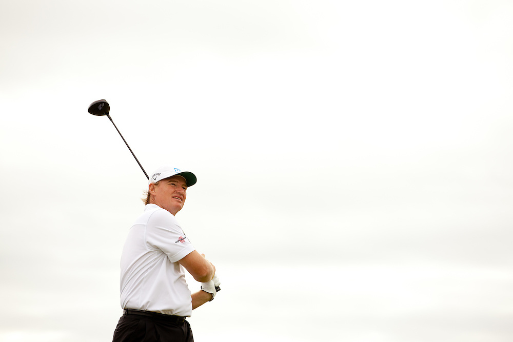 LYTHAM ST. ANNES, ENGLAND - JULY 22:  Ernie Els plays a tee shot during the final round of the 141st Open Championship at Royal Lytham St Annes Golf Club in in Lytham St. Annes, England on July 22, 2012. (Photograph ©2012 Darren Carroll) *** Local Caption *** Ernie Els