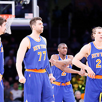 12 March 2015: New York Knicks guard Alexey Shved (1), New York Knicks center Andrea Bargnani (77), New York Knicks guard Langston Galloway (2) New York Knicks forward Lou Amundson (21) are seen during the New York Knicks 101-94 victory over the Los Angeles Lakers, at the Staples Center, Los Angeles, California, USA.