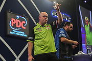 Michael van Gerwen wins his fourth round match against Adrian Lewis and acknowledges the crowd during the World Darts Championships 2018 at Alexandra Palace, London, United Kingdom on 27 December 2018.