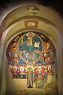 The Romanesque Apse of Sant Clement de Taull<br /> <br /> Around 1123, Romanesque frescoes from the Church of Sant Clement de Taull, Vall de Boi,Alta Ribagorca, Spain.<br /> <br /> National Art Museum of Catalonia, Barcelona. MNAC 15806, 15860, 15966, 15968, 22996<br /> <br /> <br /> Romanesque frescoes depicting Christ in Majesty *Pantocrator) in the upper Apse and the Virgin  Mary and the Apostles in the central register. .<br /> <br /> Visit our SPAIN HISTORIC PLACES PHOTO COLLECTIONS for more photos to download or buy as wall art prints https://funkystock.photoshelter.com/gallery-collection/Pictures-Images-of-Spain-Spanish-Historical-Archaeology-Sites-Museum-Antiquities/C0000EUVhLC3Nbgw <br /> .<br /> Visit our MEDIEVAL PHOTO COLLECTIONS for more   photos  to download or buy as prints https://funkystock.photoshelter.com/gallery-collection/Medieval-Middle-Ages-Historic-Places-Arcaeological-Sites-Pictures-Images-of/C0000B5ZA54_WD0s