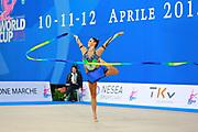 Giorgi Camilla during qualifying at ribbon in Pesaro World Cup 11 April 2015. Camilla is a Argentine rhythmic gymnastics athlete born on January 2, 1995 in Córdoba, Argentine.