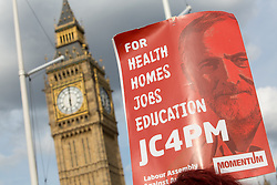 © Licensed to London News Pictures. 27/06/2016. London, UK. Political group 'Momentum' host a demonstration to show support for Labour leader Jeremy Corbyn. Many of the Labour Shadow Cabinet have resigned over the past 24 hours following the British public's vote to leave the EU. Photo credit : Tom Nicholson/LNP