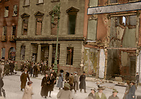 The ruins of Wynn's Hotel on Lower Abbey St after it was destroyed by fire during the Rising. In 1914 it had hosted one of the inaugural meetings of the Irish Volunteers. (Part of the Independent Newspapers Ireland/NLI Collection) Colourised by Tom Marshall (PhotograFix).