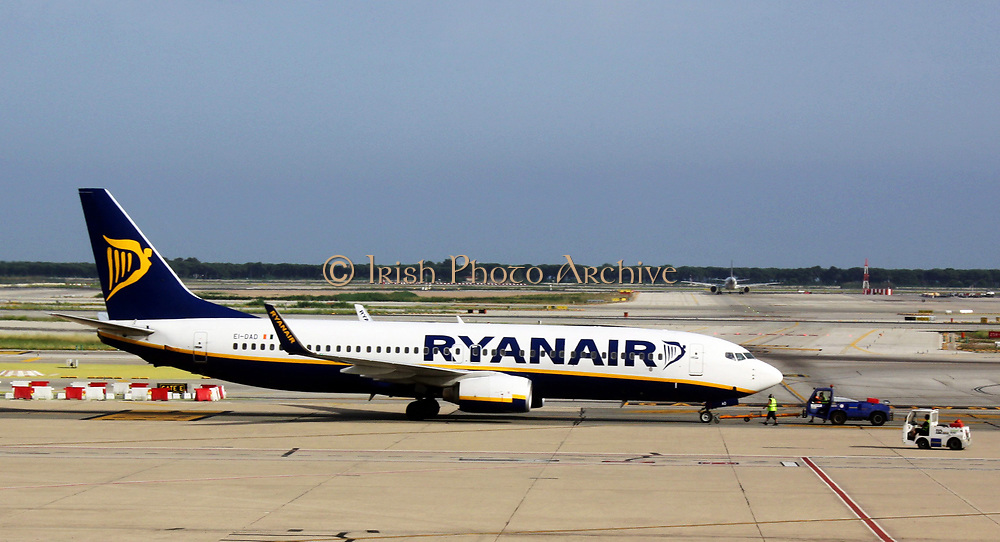 Ryanair plane on tarmac at Barcelona Airport. Barcelona. Spain 2013