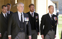 Peter Phillips (left) and the Duke of Sussex (centre) ahead of the funeral of the Duke of Edinburgh at Windsor Castle, Berkshire. Picture date: Saturday April 17, 2021.