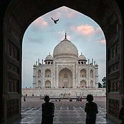 """Birds flying . Evening sunset walk at the Taj Mahal, meaning """"Crown of the Palaces"""", an ivory-white marble mausoleum on the south bank of the Yamuna river in the city of Agra."""