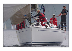 Racing at the Bell Lawrie Yachting Series in Tarbert Loch Fyne. Sunday racing was dominated by light winds...Bavaria Match 38 Salamander XVIII 3830C.
