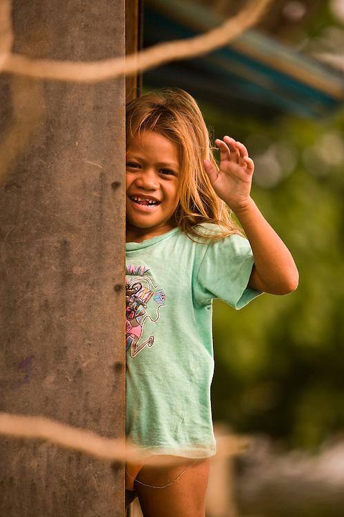 Huahine, French Polynesia, Maeva, village girl