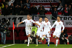 LISBON, Nov. 21, 2018  Arkadiusz Milik (1st L) of Poland celebrates with teammates after scoring during the UEFA Nations League soccer match League A Group 3 between Portugal and Poland in Guimaraes, Portugal on Nov. 20, 2018. The match ended with a 1-1 tie. (Credit Image: © Catarina Morais/Xinhua via ZUMA Wire)