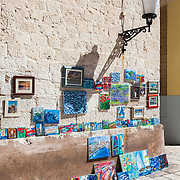 An art display near the Roman Diocletian's Palace and the Cathedral of St. Duje in the heart of Split, Croatia.