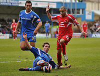 Photo: Tony Oudot/Richard Lane Photography. <br /> Gillingham Town v Carlisle United. Coca-Cola League One. 21/03/2008. <br /> Simon Hackney of Carlisle is tackled by Nicky Southall of Gillingham