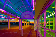 GARDEN CITY - JANUARY 20: Cradle of Aviation, Long Island air and space museum, Entrance at Sunset with Coloful domed covered Walkway, Garden City, New York, USA, on January 20, 2010.