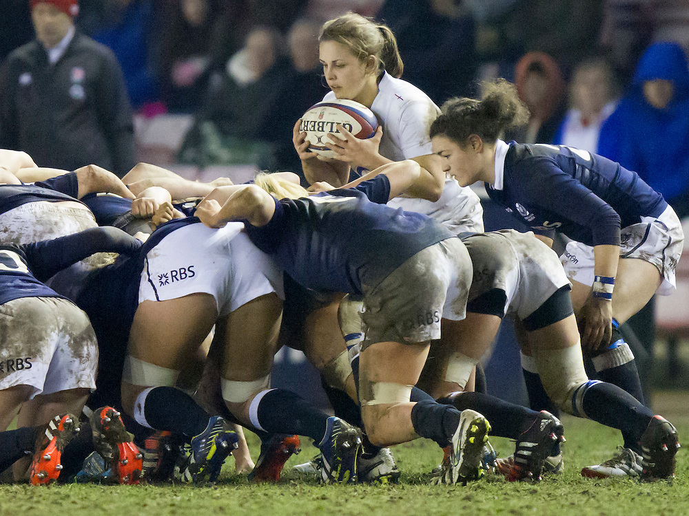 Fiona Davidson in action, England Women v Scotland Women in the 6 Nations at Northern Echo Arena, Darlington, England, on 13th March 2015
