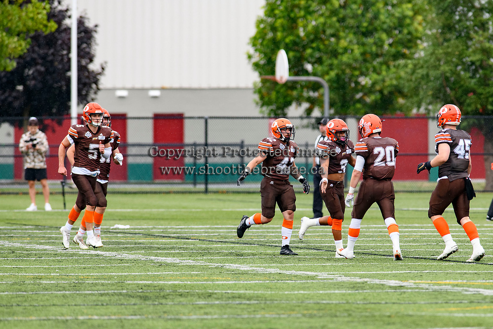 CHILLIWACK, BC - SEPTEMBER 11: Malcolm Miller #3 of Okanagan Sun celebrates a touchdown against the Westshore Rebels at Exhibition Stadium in Chilliwack, BC, Canada. (Photo by Marissa Baecker/Shoot the Breeze)