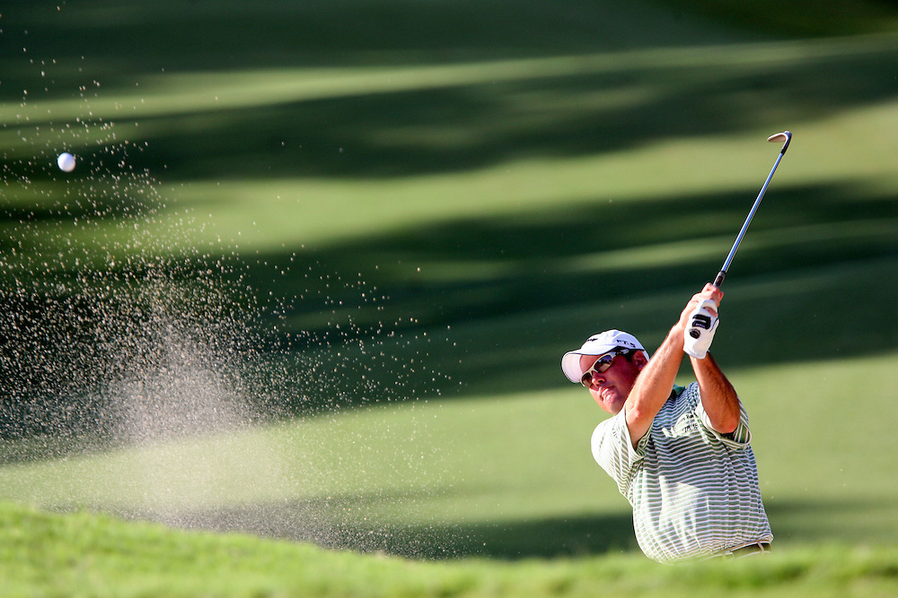 10 August 2007: Rich Beem hits out of the bunker during the second round of the 89th PGA Championship at Southern Hills Country Club in Tulsa, OK.