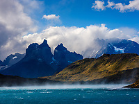 NATIONAL PARK TORRES DEL PAINE, CHILE - CIRCA FEBRUARY 2019: Strong winds of Patagonia over the Paine River in Torres del Paine National Park, Chile.