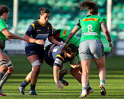 Jo Brown of Worcester Warriors Women has her progress halted by the Harlequins defence - Mandatory by-line: Nick Browning/JMP - 20/12/2020 - RUGBY - Sixways Stadium - Worcester, England - Worcester Warriors Women v Harlequins Women - Allianz Premier 15s